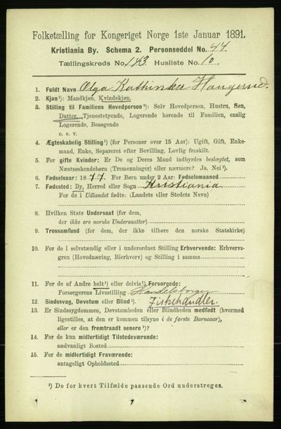 Image from object titled Folketelling 1891 - Kristiania - personsedler - side 78963
