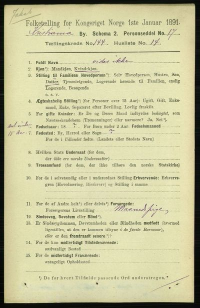 Image from object titled Folketelling 1891 - Kristiania - personsedler - side 79254