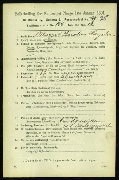 Image from object titled Folketelling 1891 - Kristiania - personsedler - side 79300