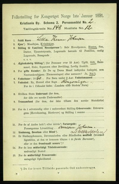 Image from object titled Folketelling 1891 - Kristiania - personsedler - side 82394