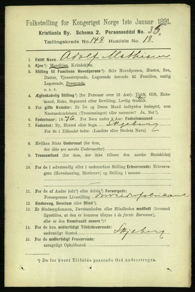 Image from object titled Folketelling 1891 - Kristiania - personsedler - side 82563