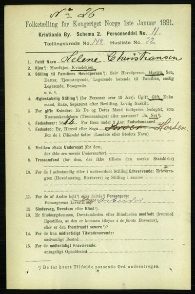 Image from object titled Folketelling 1891 - Kristiania - personsedler - side 82890