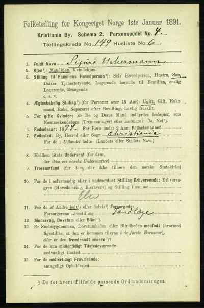 Image from object titled Folketelling 1891 - Kristiania - personsedler - side 83251
