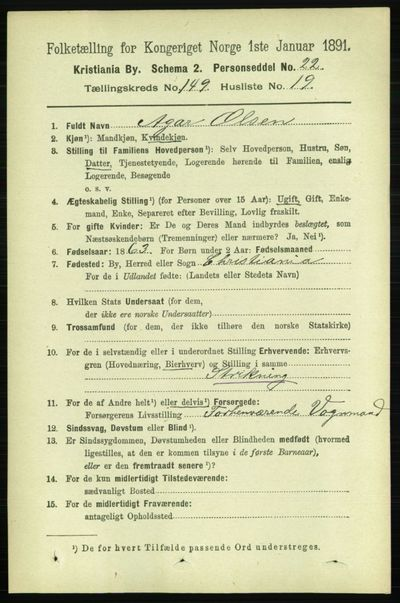 Image from object titled Folketelling 1891 - Kristiania - personsedler - side 83543
