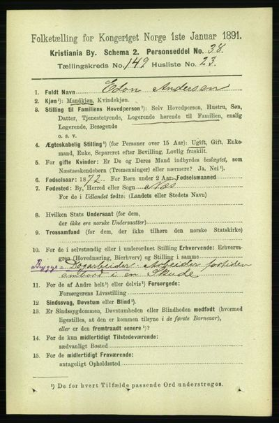 Image from object titled Folketelling 1891 - Kristiania - personsedler - side 83647