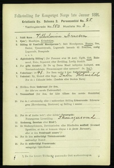 Image from object titled Folketelling 1891 - Kristiania - personsedler - side 83865