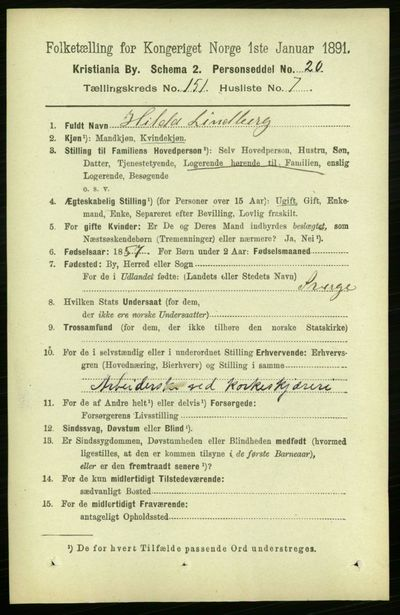 Image from object titled Folketelling 1891 - Kristiania - personsedler - side 84539