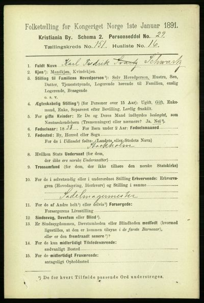 Image from object titled Folketelling 1891 - Kristiania - personsedler - side 84784