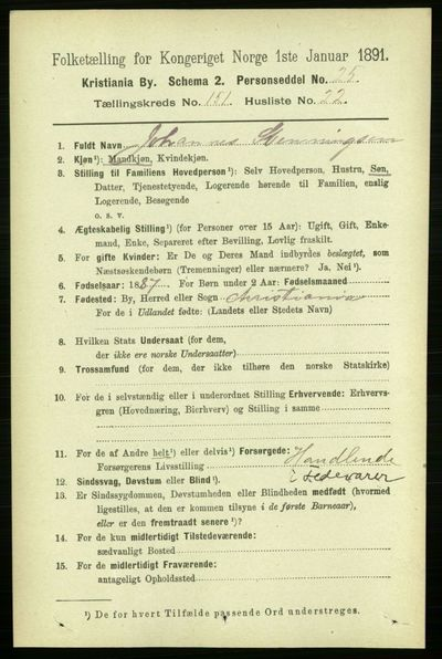 Image from object titled Folketelling 1891 - Kristiania - personsedler - side 84928