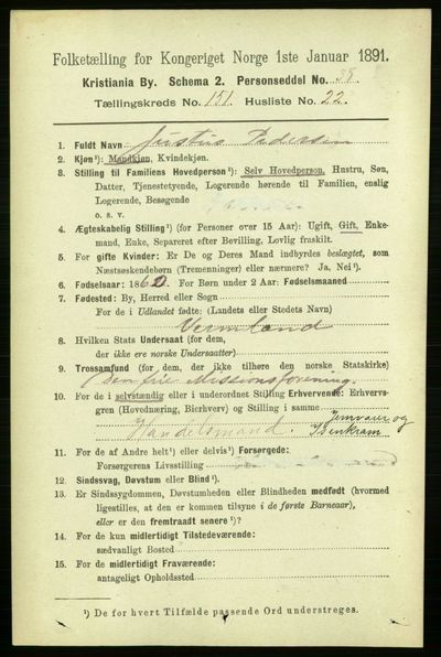 Image from object titled Folketelling 1891 - Kristiania - personsedler - side 84941