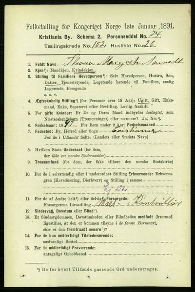 Image from object titled Folketelling 1891 - Kristiania - personsedler - side 86075