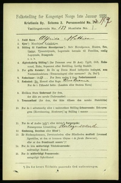 Image from object titled Folketelling 1891 - Kristiania - personsedler - side 87421