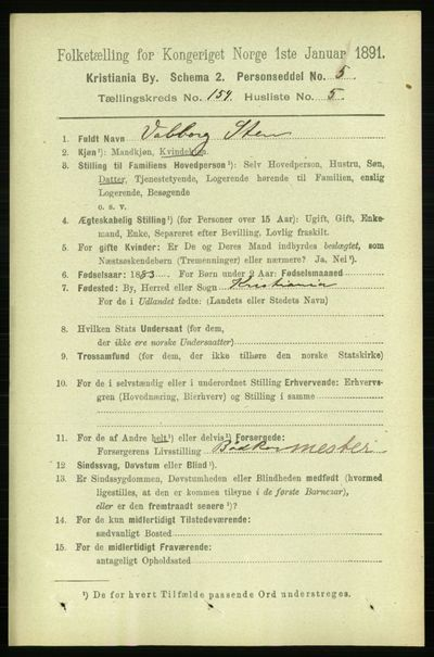 Image from object titled Folketelling 1891 - Kristiania - personsedler - side 87555