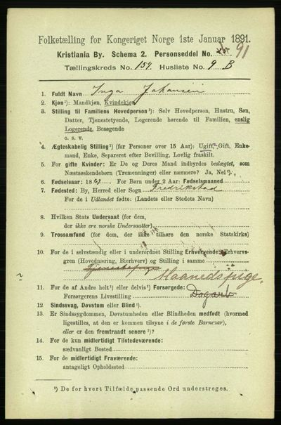 Image from object titled Folketelling 1891 - Kristiania - personsedler - side 87726