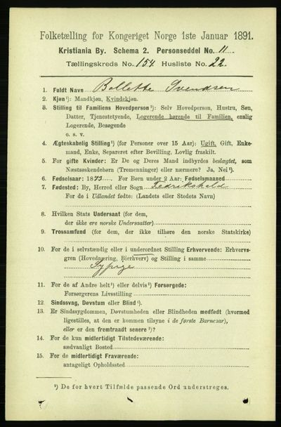 Image from object titled Folketelling 1891 - Kristiania - personsedler - side 87952