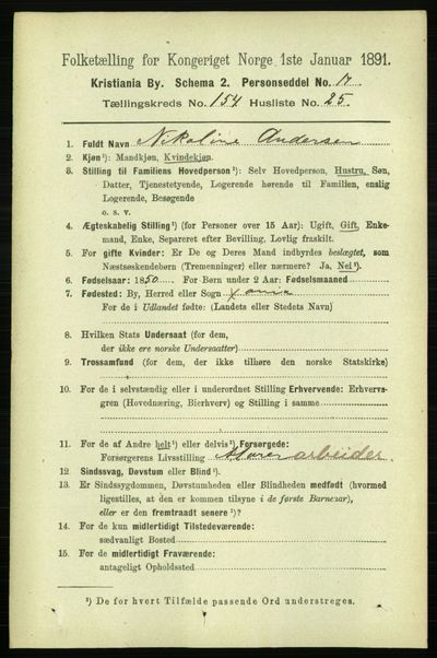 Image from object titled Folketelling 1891 - Kristiania - personsedler - side 88051
