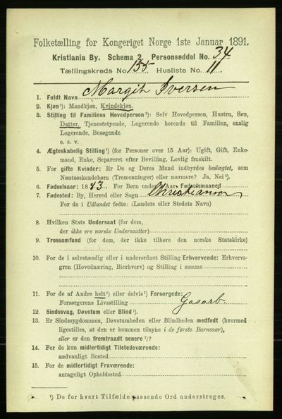 Image from object titled Folketelling 1891 - Kristiania - personsedler - side 88518