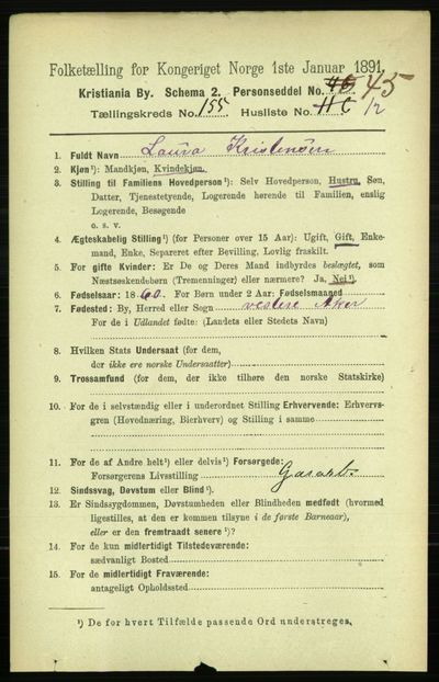 Image from object titled Folketelling 1891 - Kristiania - personsedler - side 88633