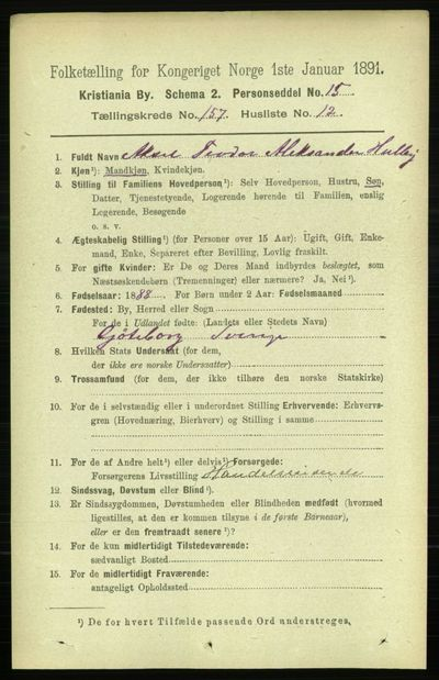 Image from object titled Folketelling 1891 - Kristiania - personsedler - side 89501