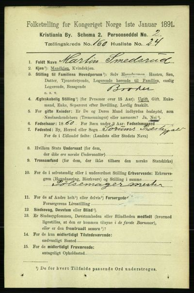 Image from object titled Folketelling 1891 - Kristiania - personsedler - side 91294