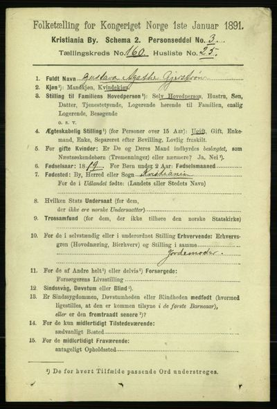 Image from object titled Folketelling 1891 - Kristiania - personsedler - side 91309
