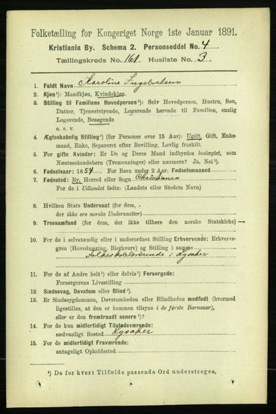 Image from object titled Folketelling 1891 - Kristiania - personsedler - side 91653