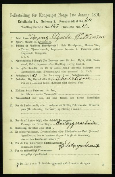 Image from object titled Folketelling 1891 - Kristiania - personsedler - side 92781