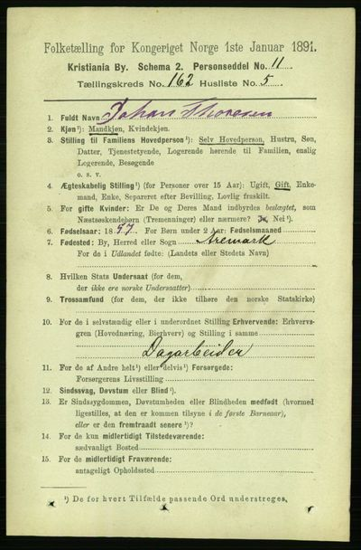 Image from object titled Folketelling 1891 - Kristiania - personsedler - side 92821