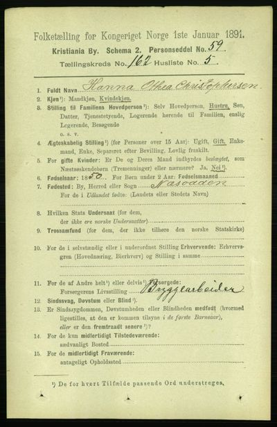 Image from object titled Folketelling 1891 - Kristiania - personsedler - side 92869