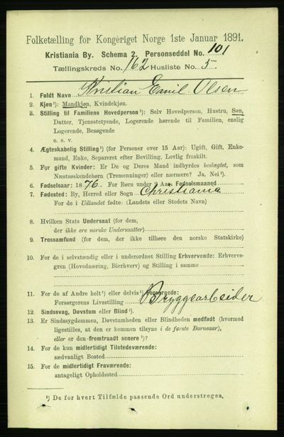 Image from object titled Folketelling 1891 - Kristiania - personsedler - side 92911