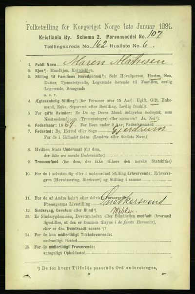 Image from object titled Folketelling 1891 - Kristiania - personsedler - side 93121