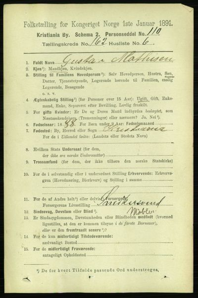 Image from object titled Folketelling 1891 - Kristiania - personsedler - side 93124