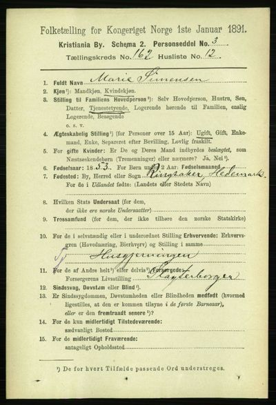 Image from object titled Folketelling 1891 - Kristiania - personsedler - side 93258
