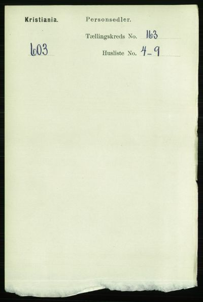 Image from object titled Folketelling 1891 - Kristiania - personsedler - side 93621