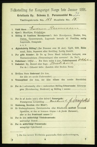 Image from object titled Folketelling 1891 - Kristiania - personsedler - side 94018