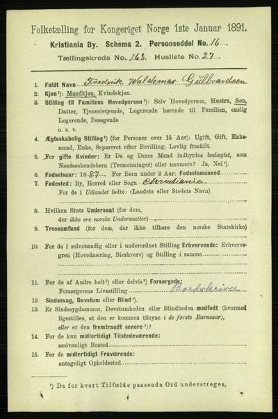 Image from object titled Folketelling 1891 - Kristiania - personsedler - side 94175