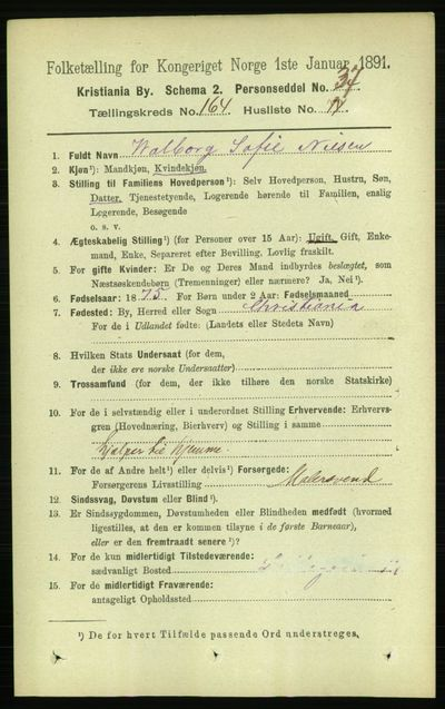 Image from object titled Folketelling 1891 - Kristiania - personsedler - side 94638