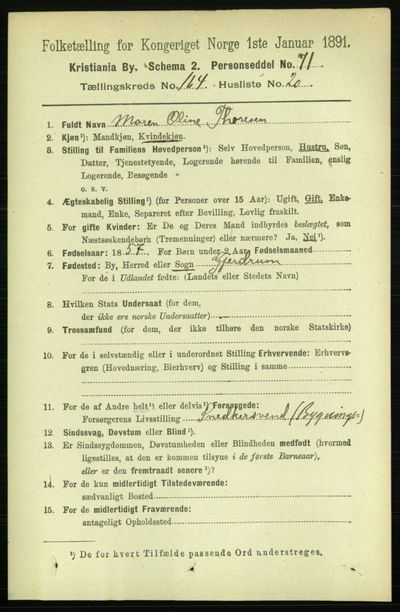 Image from object titled Folketelling 1891 - Kristiania - personsedler - side 94911