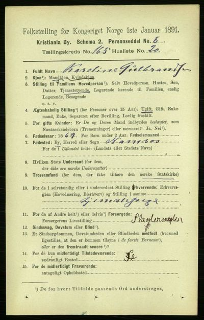Image from object titled Folketelling 1891 - Kristiania - personsedler - side 95792