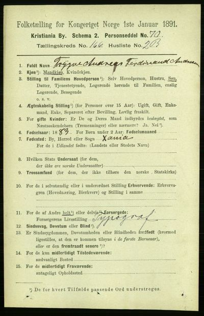 Image from object titled Folketelling 1891 - Kristiania - personsedler - side 96298