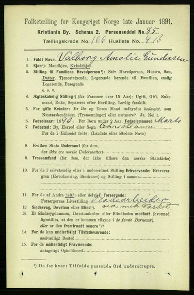 Image from object titled Folketelling 1891 - Kristiania - personsedler - side 96537