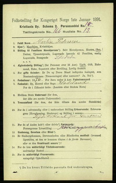 Image from object titled Folketelling 1891 - Kristiania - personsedler - side 96968