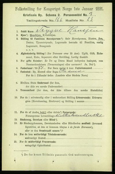Image from object titled Folketelling 1891 - Kristiania - personsedler - side 97139