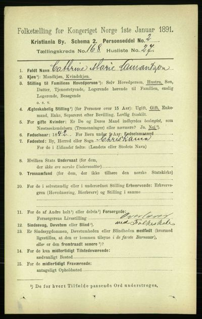 Image from object titled Folketelling 1891 - Kristiania - personsedler - side 98513