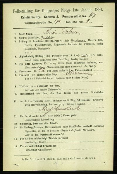Image from object titled Folketelling 1891 - Kristiania - personsedler - side 100059
