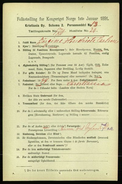 Image from object titled Folketelling 1891 - Kristiania - personsedler - side 100377