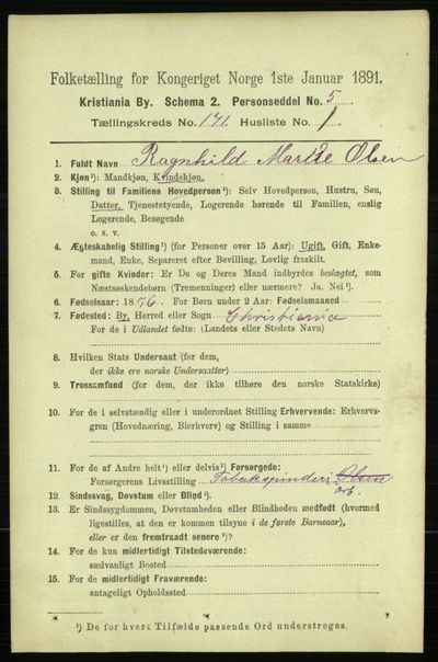 Image from object titled Folketelling 1891 - Kristiania - personsedler - side 100650
