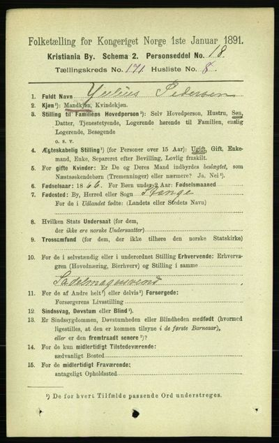 Image from object titled Folketelling 1891 - Kristiania - personsedler - side 100793