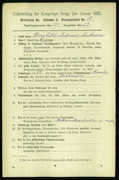 Image from object titled Folketelling 1891 - Kristiania - personsedler - side 101183