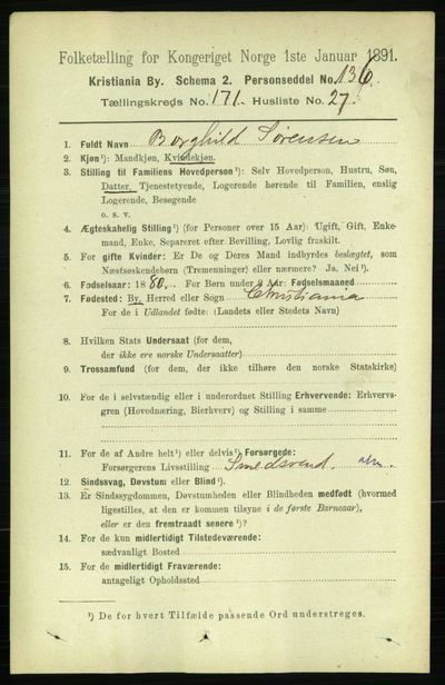 Image from object titled Folketelling 1891 - Kristiania - personsedler - side 101373